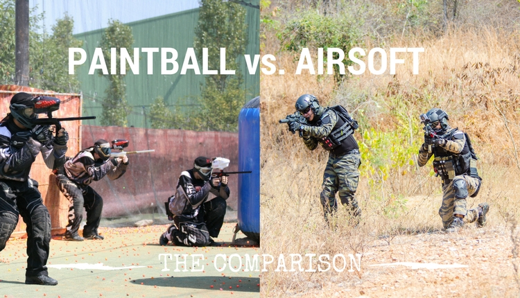 Paintball Players On One Side Airsoft Players On The Othere