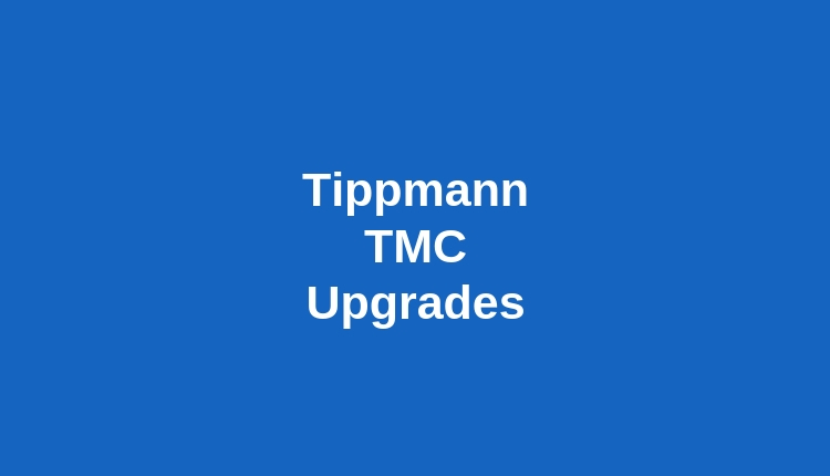 Blue Background with White Letters That Says Tippmann TMC Upgrades
